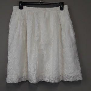 NWT J. Crew White Lace Midi Skirt Size 14